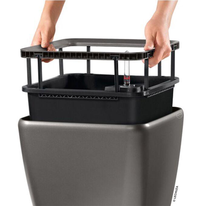 LECHUZA QUADRO 35 LS Premium Επιδαπέδια Γλάστρα 35.5x35.5x32.5cm ΑΥΤΟΠΟΤΙΖΟΜΕΝΗ με Δοχείο Φύτευσης Ανθρακί Γυαλιστερή Γερμανίας
