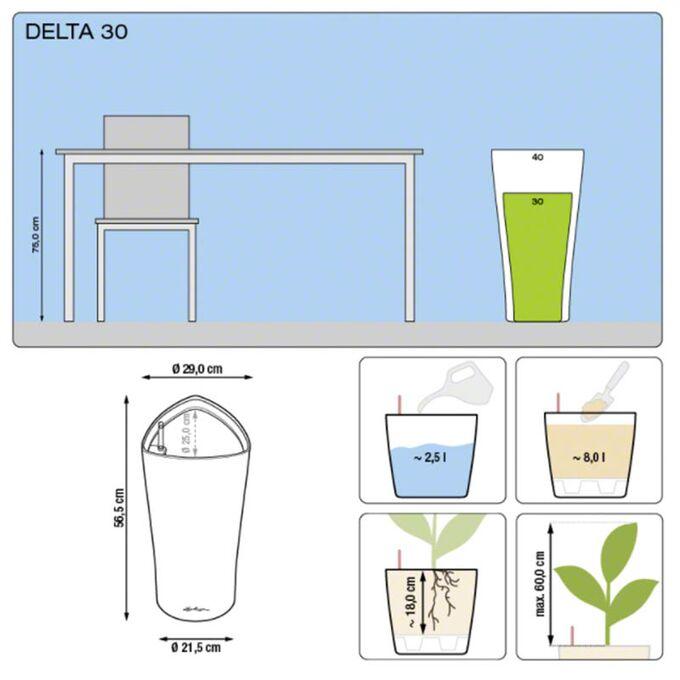 LECHUZA Delta 30 Premium Επιδαπέδια Γλάστρα Ø29x56.5cm Αυτοποτιζόμενη με Δοχείο Φύτευσης Λευκή Γυαλιστερή Γερμανίας