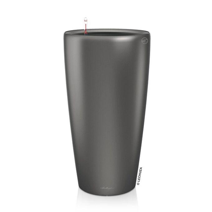LECHUZA RONDO 32 Premium Επιδαπέδια Γλάστρα Ø32.5x56.5cm ΑΥΤΟΠΟΤΙΖΟΜΕΝΗ με Δοχείο Φύτευσης Ανθρακί Σατινέ Γερμανίας