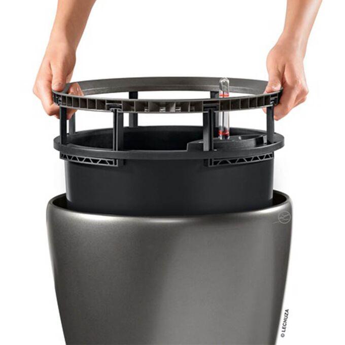 LECHUZA Classico 28 LS Premium Επιτραπέζια Γλάστρα Ø28.5x26cm Αυτοποτιζόμενη με Δοχείο Φύτευσης Γκρι-Καφέ Γυαλιστερή Γερμανίας