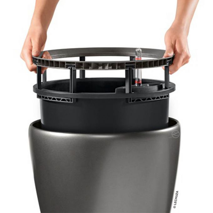 LECHUZA Classico 50 LS Premium Επιδαπέδια Γλάστρα Ø49.5x46.5cm Αυτοποτιζόμενη με Δοχείο Φύτευσης Γκρι-Καφέ Γυαλιστερή Γερμανίας