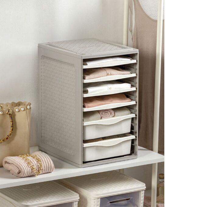 BAMA ITALY Συρταριέρα Ρούχων 34x41x53cm 4.37kg Πλαστική με 4 Δίσκους και 2 Συρτάρια Λευκό Πάγου RIORDINO