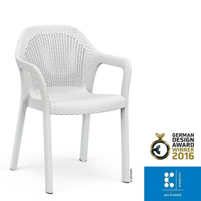 LECHUZA Στοιβαζόμενη Καρέκλα 58x57x84cm Βάρος 6kg Λευκή Rattan Γερμανίας German design winner award 2016/pro-k awards winner 2016