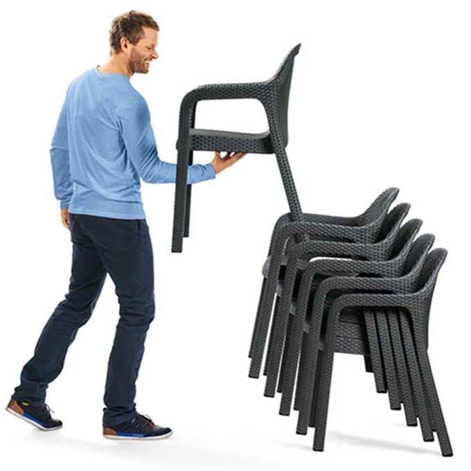LECHUZA Στοιβαζόμενη Καρέκλα 58x57x84cm Βάρος 6kg Λευκή Rattan Γερμανίας