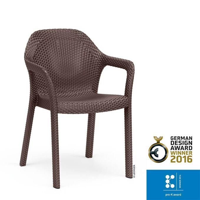 LECHUZA Στοιβαζόμενη Καρέκλα 58x57x84cm Βάρος 6kg Mocha Rattan Γερμανίας German design winner award 2016/pro-k awards winner 2016