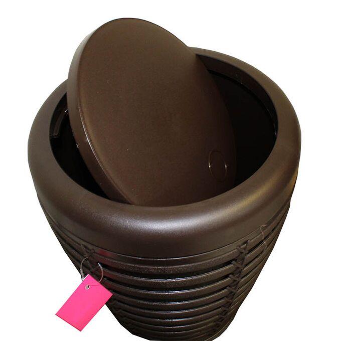 Κάδος Απορριμάτων 7.5lt Ø23.5x29.5cm με Εσωτερικό Κάδο Ø21.5x27cm Πλαστικός Οικιακός PALM WASTE BIN Καφέ Σκούρο