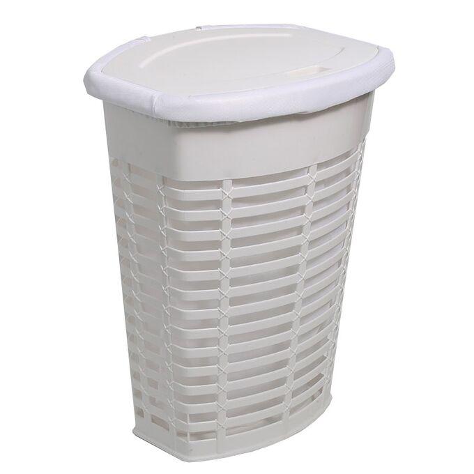 Καλάθι Απλύτων 50lt 48x36x60cm Ορθογώνιο Πλαστικό Λευκό-Διάφανο Λευκό