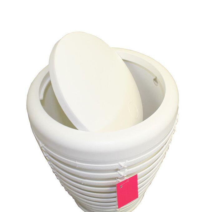 Κάδος Απορριμάτων 7.5lt Ø23.5x29.5cm με Εσωτερικό Κάδο Ø21.5x27cm Πλαστικός Οικιακός PALM WASTE BIN Λευκό