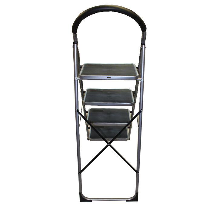 Σκαλοσκαμπό Μεταλλικό 46.5x92x138cm με 4 Σκαλιά MAX Αντοχή Βάρους 150kg Βάρος 8.7kg DELUXE Ασημί LY604