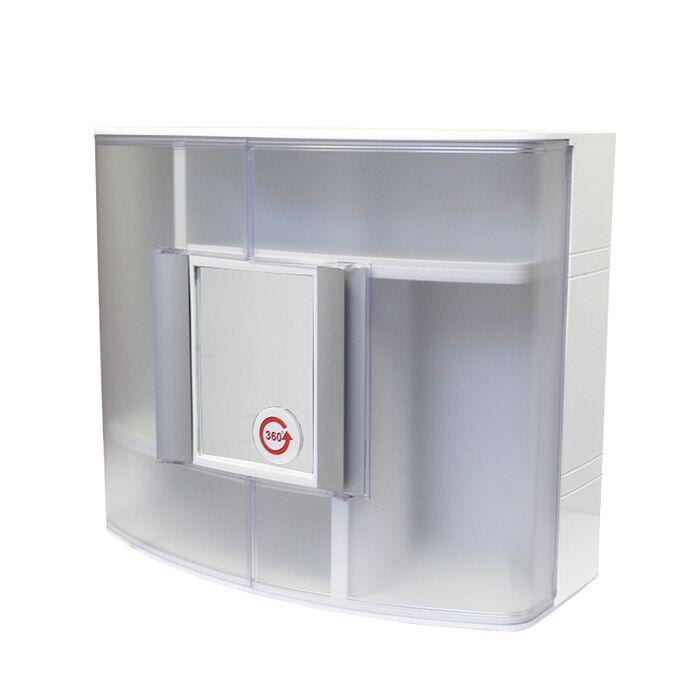Ερμάριο/Ντουλάπι Έπιπλο Μπάνιου με Καθρέπτη 360ᵒ  38.5x17x33cm 2 Πόρτες-5 Αποθηκευτικοί Χώροι Βάρος 1.97kg Διάφανο-Λευκό