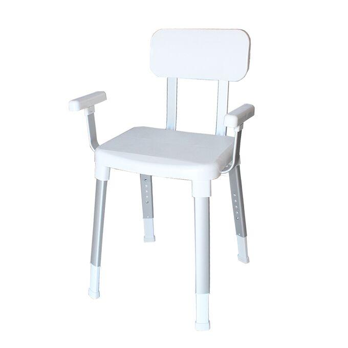 Κάθισμα-Καρέκλα Μπάνιου 54x42x85cm με Ρυθμιζόμενο Ύψος MAX Αντοχή 150kg Βάρος 4.1kg Αλουμινίου-Πλαστικό Λευκό