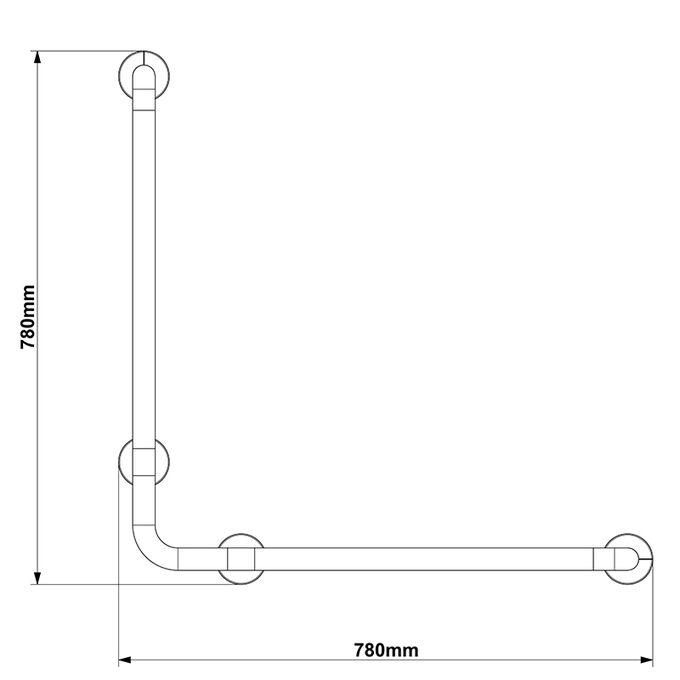 Χειρολαβή Μπάνιου 78x8x78cm Αλουμινίο-Πλαστικό Μέγιστη Αντοχή 120kg Βάρος 1.10kg Λευκή