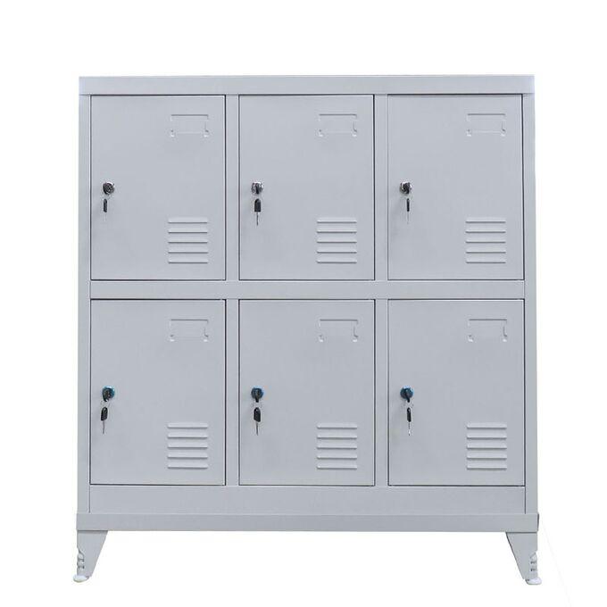 Μεταλλική Ντουλάπα - Φοριαμός (Locker) 90x45x101cm 6 Θέσεων με Ρυθμιζόμενα Πόδια 27kg Γκρι Ανοικτό STEELEN