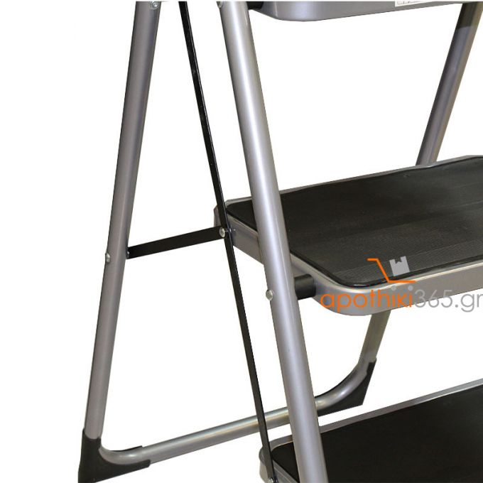 Σκαλοσκαμπό Μεταλλικό 46x66x112cm με 3 σκαλιά Αντοχή Βάρους 150kg Βάρος 6.7kg DELUXE Ασημί