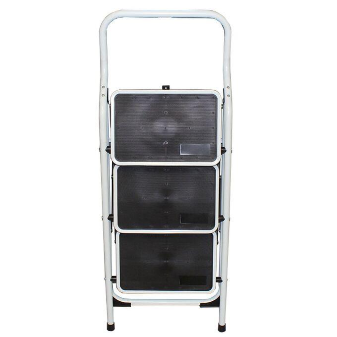Σκαλοσκαμπό Μεταλλικό 47x62x111cm με 3 Σκαλιά MAX Αντοχή 150kg Βάρος 6.5kg PLUS Λευκό