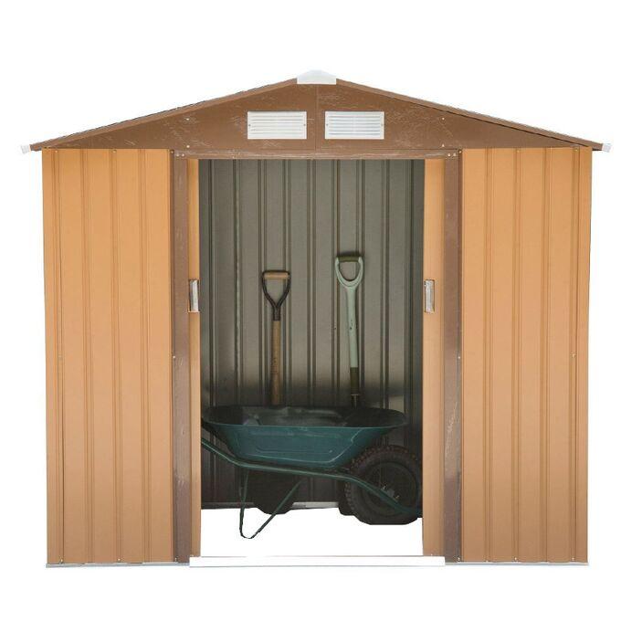 Μεταλλική Αποθήκη Κήπου - Σπιτάκι Κήπου 213x127x205cm (7'x4,2') 5.50m³ Γαλβανιζέ με Παράθυρο Archer Plus A Καφέ LILYSHED