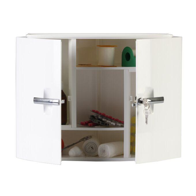 Φαρμακείο-Ερμάριο Μπάνιου με Κλειδαριά 38.5x17x33cm 2 Πόρτες-5 Αποθηκευτικοί Χώροι Βάρος 1.72kg Λευκό
