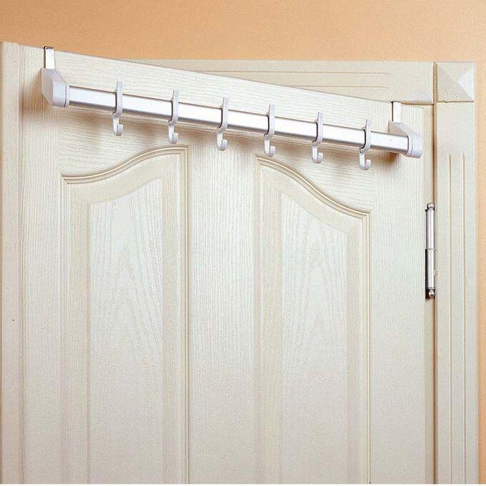 Κρεμάστρα Πόρτας με 6 Γάντζους 58x8.5x5cm Αλουμίνιο-Πλαστικό