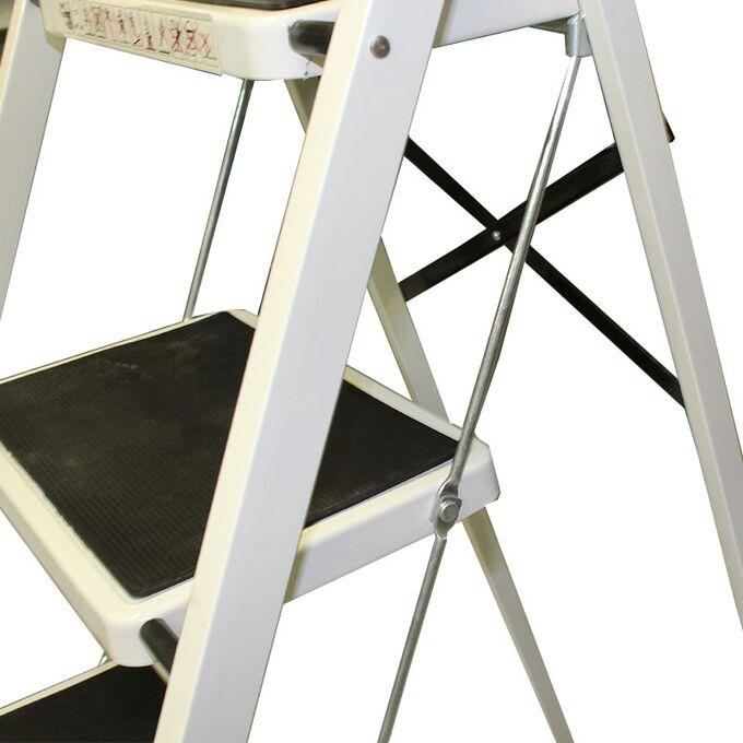 Σκαλοσκαμπό Μεταλλικό 44.5x81x123cm με 4 Σκαλιά MAX Αντοχή 150kg Βάρος 7.8kg Λευκό LF204B