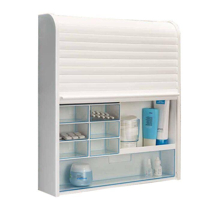 Ερμάριο-Έπιπλο Μπάνιου 42x10x48cm 4.2kg με Συρόμενο Ρολό και 15 Αποθηκευτικούς Χώρους Πλαστικό Λευκό