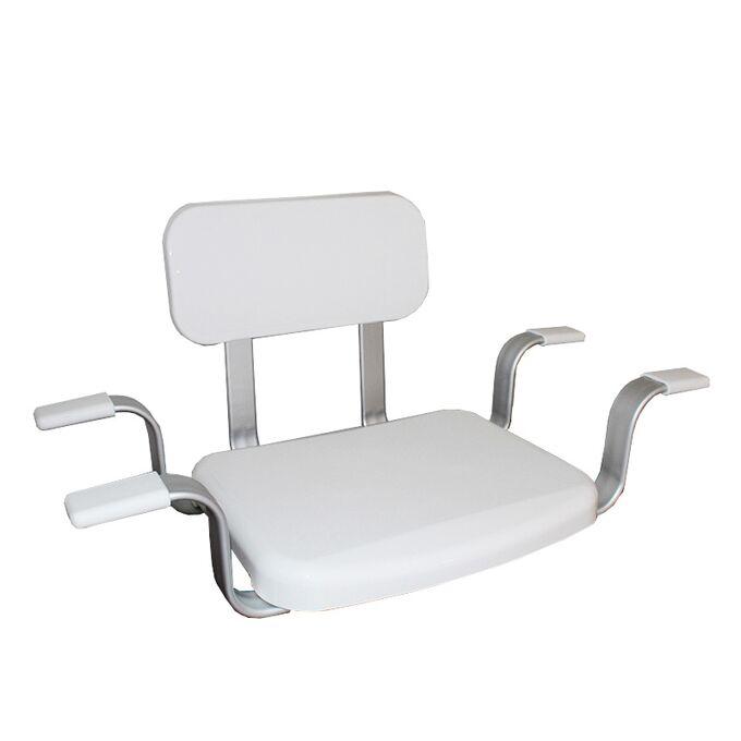 Κάθισμα-Σκαμπό Μπανιέρας με Πλάτη 75x41x38cm 2.4kg ΜΑΧ Αντοχή 130kg Αλουμίνιο-Πλαστικό Λευκό