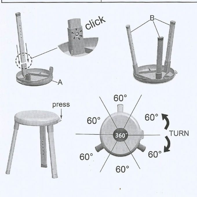 Κάθισμα-Σκαμπό Μπάνιου Περιστρεφόμενο 360ᵒ Ø33x43cm με Ρυθμιζόμενο Ύψος 2.3kg Αλουμινίου-Πλαστικό Λευκό