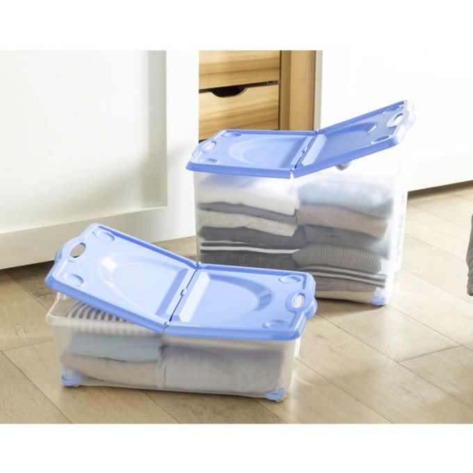BAMA ITALY Κουτί Αποθήκευσης 59x39x18cm 27lt με Περιστρεφόμενες Ρόδες 360ᵒ Πλαστικό Διάφανο-Μπλε CONTENITORE ROTOBOX