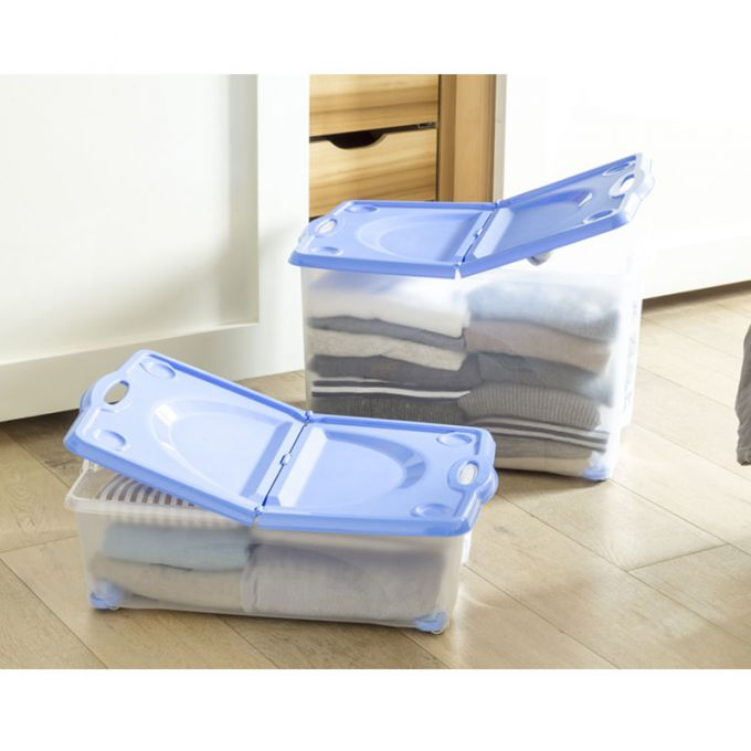 BAMA ITALY Κουτί Αποθήκευσης 59x39x36cm 54lt με Περιστρεφόμενες Ρόδες 360ᵒ Πλαστικό Διάφανο-Μπλε CONTENITORE ROTOBOX
