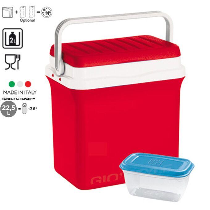 GIOSTYLE ITALY Φορητό Ψυγείο-Θερμός 22.5lt 37.8x25.5x38cm + Τάπερ 1L MAX Απόδοση 14 Ώρες CIAO! M Κόκκινο-Λευκό