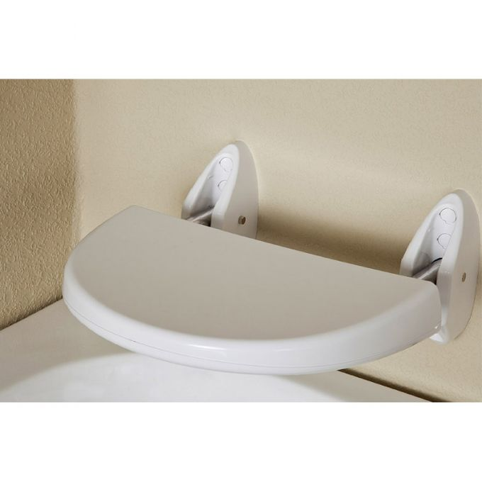 Κάθισμα Μπάνιου 36x40x18cm Βιδωτό Τοίχου Αναδιπλούμενο Πλαστικό ABS ΜΑΧ Αντοχή 120kg Βάρος 1.86kg Λευκό