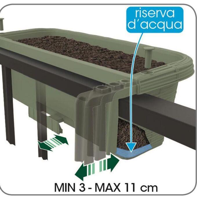 BAMA ITALY Ζαρντινιέρα Κρεμαστή 60x20x18.5cm 15lt με Πλεκτή Όψη και Σύστημα Αποστράγγισης Ανθρακί RONDINE PAGLIA