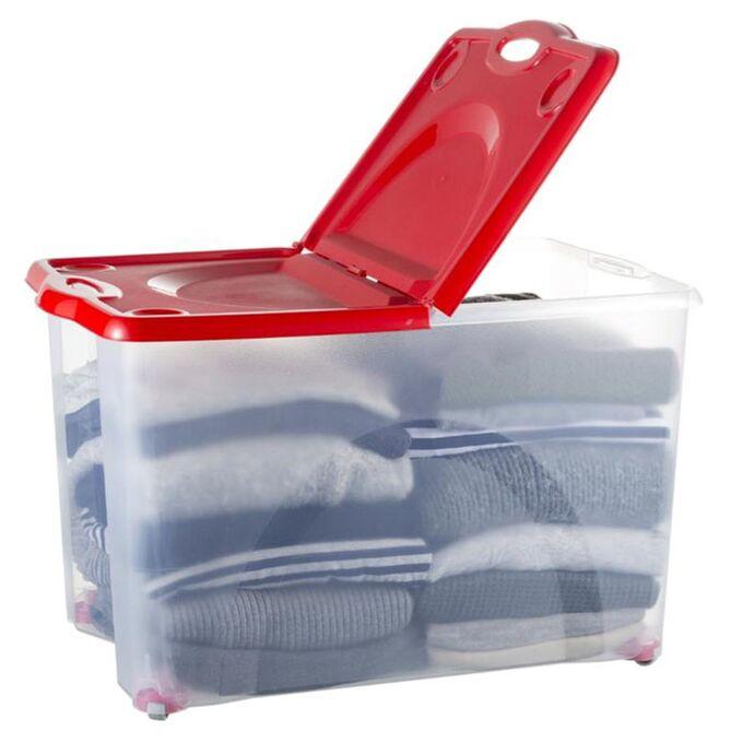 BAMA ITALY Κουτί Αποθήκευσης 59x39x36cm 54lt με Περιστρεφόμενες Ρόδες 360ᵒ Πλαστικό Διάφανο-Κόκκινο CONTENITORE ROTOBOX