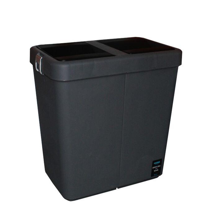 Κάδος Απορριμάτων Διπλός 80lt 54x34x57cm Πλαστικός Επαγγελματικός/Οικιακός  Με Παλλόμενο Άνοιγμα 3.7kg Ανθρακί