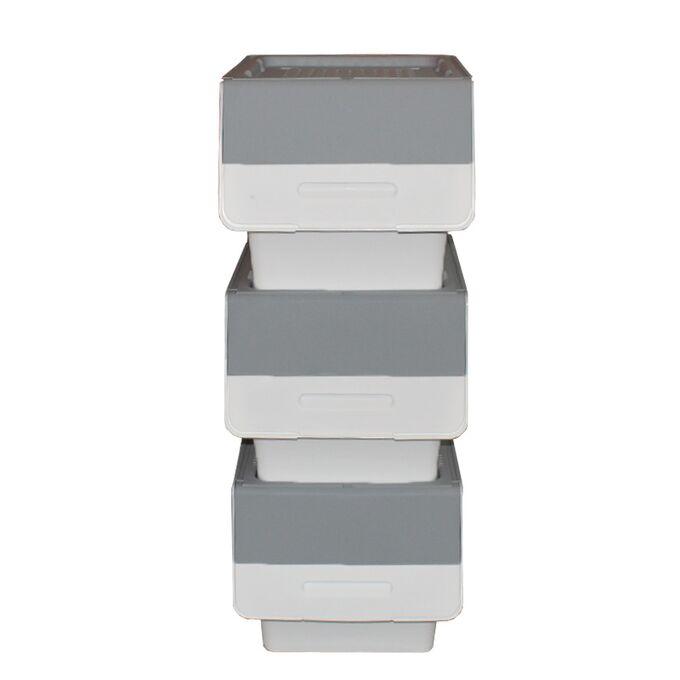 Κουτί Αποθήκευσης Πολυχρηστικό Τριπλό 36lt 26x31x71cm Πλαστικό Με Ρόδες 2.41kg Γκρί-Λευκό