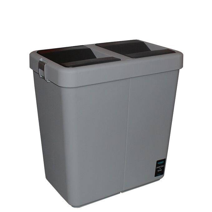 Κάδος Απορριμάτων Διπλός 80lt 54x34x57cm Πλαστικός Επαγγελματικός/Οικιακός  Με Παλλόμενο Άνοιγμα 3.7kg Γκρί