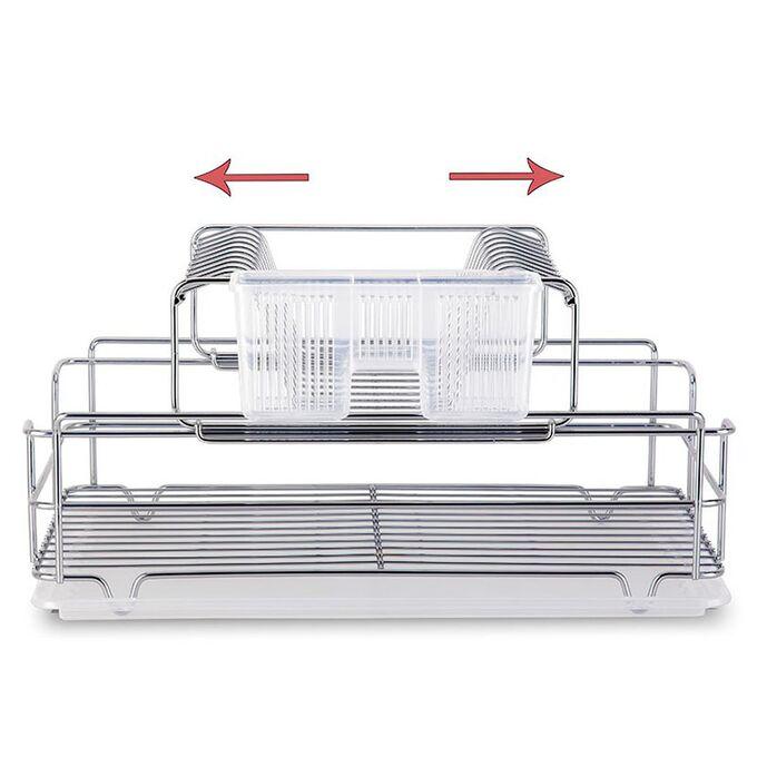 TEKNO-TEL Πιατοθήκη Στεγνωτήριο Αποσπώμενο-Συρόμενο Επιχρωμιωμένο Ατσάλι 48x33x25cm 2όροφο Βάρος 2.17kg 10 Θέσεις Πιάτων με Θήκη και Δίσκο
