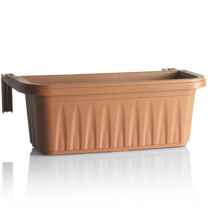 BAMA ITALY Ζαρντινιέρα Κρεμαστή 60x20x18.5cm 15lt με Ρυθμιζόμενους Βραχίονες και Σύστημα Αποστράγγισης 0.83kg Κεραμιδί RONDINE