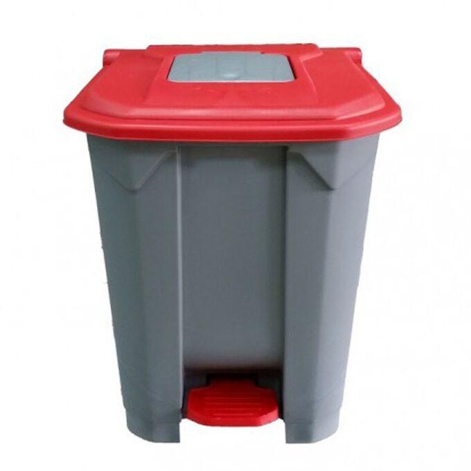 Κάδος Απορριμάτων 50lt 43x41x56cm Πλαστικός 3.8kg με Εσωτερικό Κάδο 36x29x47.5cm + Πεντάλ + Ρόδες + Μικρό Ανοιγόμενο Καπάκι Γκρι - Κόκκινο