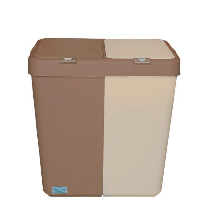 Καλάθι Απλύτων Διπλό 80lt 54x34.5x57cm Πλαστικό Με Διπλό Καπάκι 3.12kg Μπεζ-Μόκα