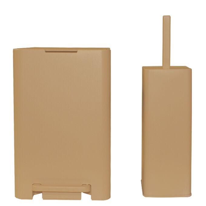 Σετ Κάδος Μπάνιου με Πεντάλ 13,5lt με Εσωτερικό Κάδο 7lt και Πιγκαλ Πλαστικό SOFT CLOSE Μπεζ Άμμου VIOMES Ελλάδας