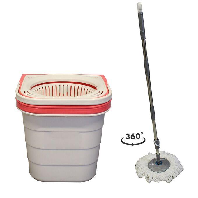 SPIN MOP DUO Διπλός Κουβάς Σφουγγαρίσματος Πτυσσόμενος 19lt 49x26x26cm 2.29kg + Πτυσσόμενο Κοντάρι και Περιστρεφόμενο Σύστημα Στράγγισης 360° Μπεζ-Κοραλλί