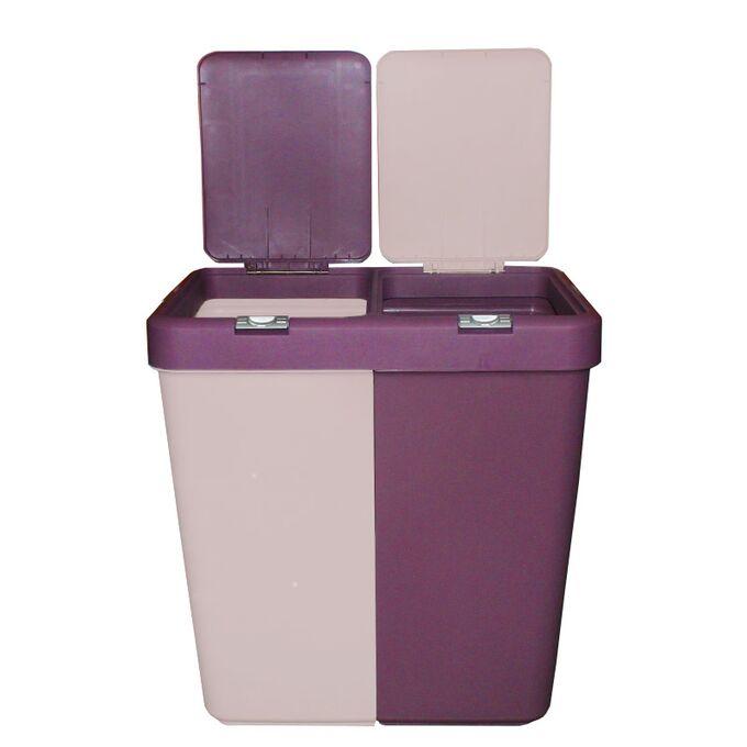 Καλάθι Απλύτων Διπλό 80lt 54x34.5x57cm Πλαστικό με Διπλό Καπάκι 3.12kg Μωβ-Ροζ Παλ