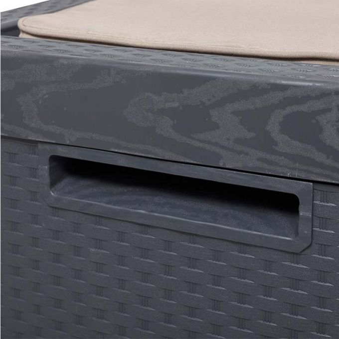 TOOMAX FASHION ITALY Πλαστικό Μπαούλο Αποθήκευσης 123.7x54.5x58.7cm 350lt 13kg MASSIF με Καπάκι-Κάθισμα 2 Ατόμων και Μαξιλάρι PORTONOVO ANTHRACITE TUV/GS
