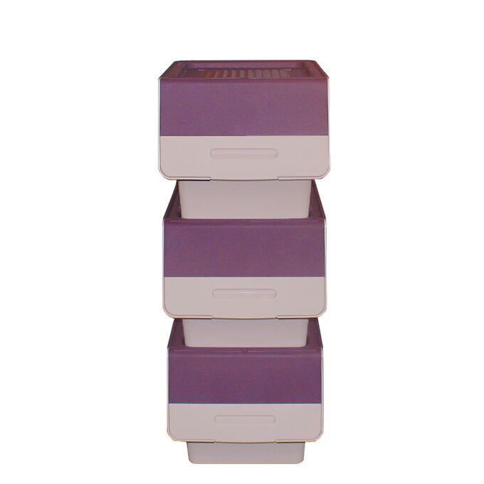 Κουτί Αποθήκευσης Πολυχρηστικό Τριπλό 36lt 26x31x71cm Πλαστικό Με Ρόδες 2.41kg Μωβ-Ροζ Παλ