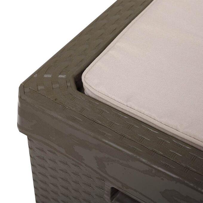 TOOMAX FASHION ITALY Πλαστικό Μπαούλο Αποθήκευσης 123.7x54.5x58.7cm 350lt 13kg MASSIF με Καπάκι-Κάθισμα 2 Ατόμων και Μαξιλάρι PORTONOVO BROWN TUV/GS