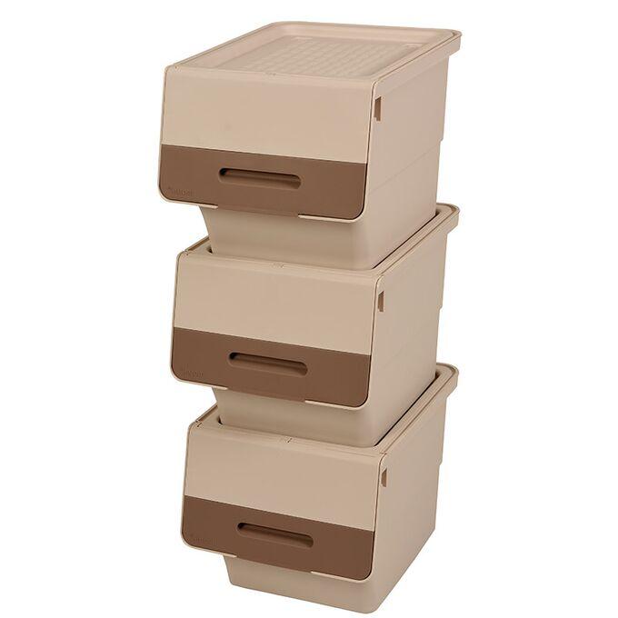 Κουτί Αποθήκευσης Πολυχρηστικό Τριπλό 99lt 35x45x96cm Πλαστικό Με Ρόδες 4.48kg Μπεζ-Μόκα