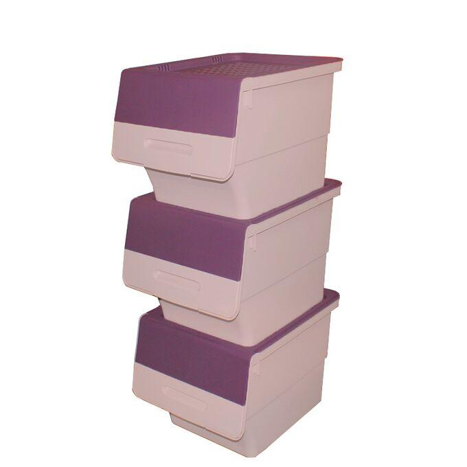 Κουτί Αποθήκευσης Πολυχρηστικό Τριπλό 99lt 35x45x96cm Πλαστικό Με Ρόδες 4.48kg Μωβ-Ροζ Παλ