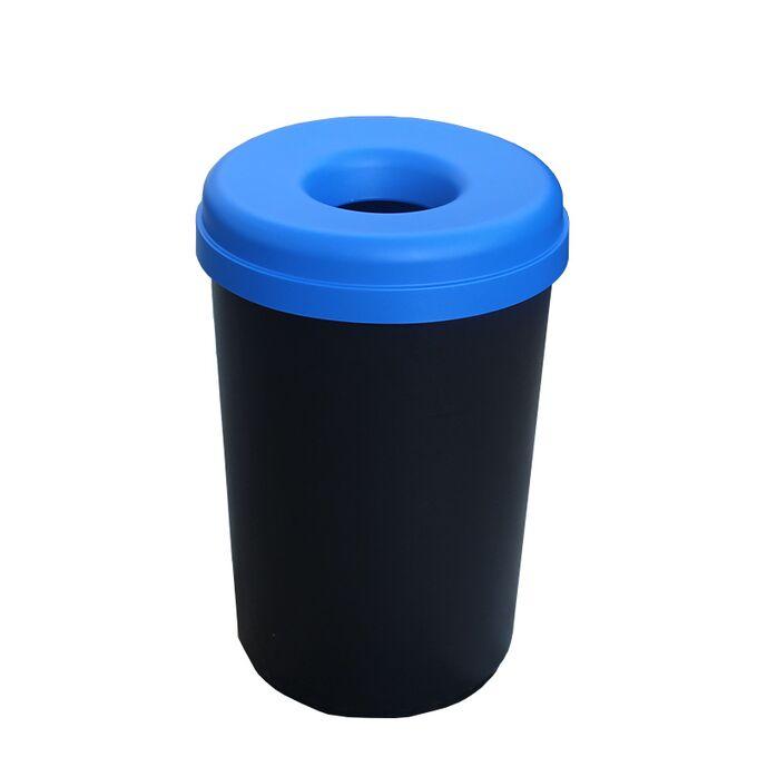 Κάδος Ανακύκλωσης 60lt Ø41x62.5cm 1.91kg Πλαστικός με Άνοιγμα Ø14cm στο Καπάκι Μαύρο-Μπλε Ελλάδας