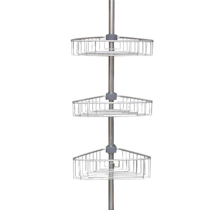 Τηλεσκοπική Ραφιέρα Μπάνιου 3όροφη Γωνία 35x21.5x135-270cm Ρυθμιζόμενο Ύψος με 3 Ράφια Αλουμινίου (Χωρίς Εργαλεία)