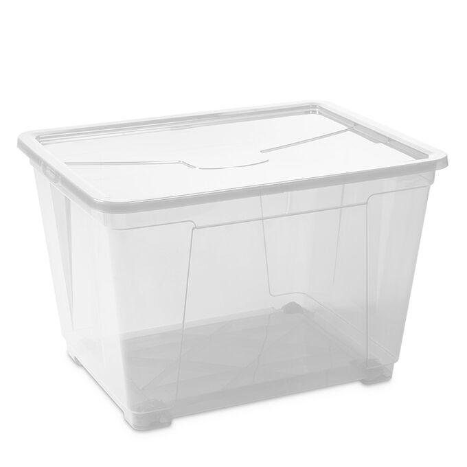 Κουτί Αποθήκευσης XXL 140lt 80x61x43cm Διάφανο Πλαστικό με Ρόδες EASY BOX PLASTMECCANICA Ιταλίας